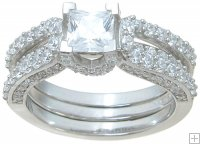 Princess Cut Cubic Zirconia Bridal Wedding Engagement Ring Set
