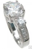 Cubic Zirconia Engagement Ring CZ Anniversary Ring in Silver