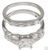 Size 8 CZ Engagement Ring with Wedding Band Set Princess Cut
