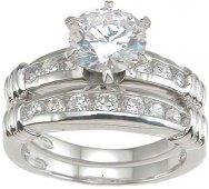 Size 7 Cubic Zirconia Wedding Band Engagement Ring Set Solitaire