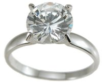 Size 7 CZ Engagement Ring 1 Carat Round Center Stone