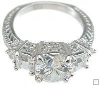 Womens Size 6 Three Stone Cubic Zirconia Engagement Ring