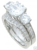 Antique Style Cubic Zirconia Bridal Wedding Engagement Ring Set