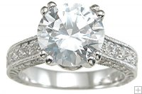 3 Carat Cubic Zirconia Antique Style Engagement Ring