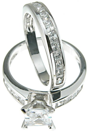 Cubic Zirconia Wedding Engagement Anniversary Set Size 9 - Click Image to Close