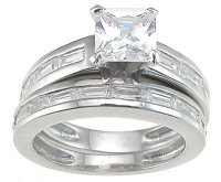 Sterling Silver Wedding Rings Princess Cut Cubic Zirconia