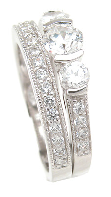 Three Stone Cubic Zirconia Wedding Ring Band Set Size 9 - Click Image to Close