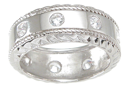 Sterling Silver Wedding Band with CZ Accents SIZE 10 - Click Image to Close