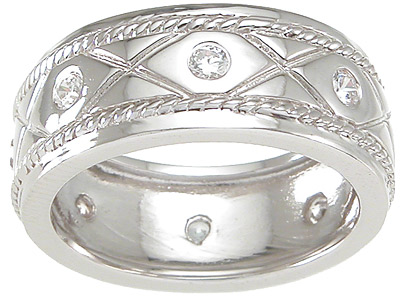 Scrolled Cubic Zirconia Wedding Band Ring SIZE 10 - Click Image to Close
