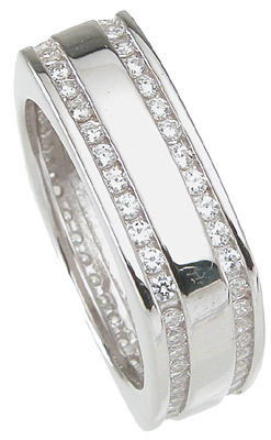 Modern CZ Cubic Zirconia Wedding Band Ring SIZE 11 - Click Image to Close