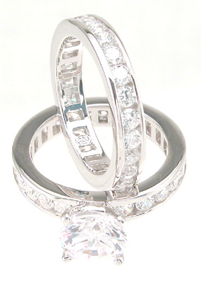 Cubic Zirconia CZ Engagement Wedding Ring Set Size 9 - Click Image to Close